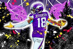 Justin Jefferson #18 art MAGNET - Minnesota Vikings Wide Receiver Die cut Vinyl