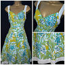 NEW PER UNA DRESS SUNDRESS GREEN TURQUOISE IVORY MIDI SUMMER COTTON SIZE 8 - 24