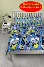 NEW BATMAN JUSTICE LEAGUE MOVIE DOUBLE DUVET QUILT COVER SET BOYS KIDS BLUE BED