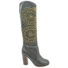 Jeffrey Campbell Fleetwood Brown Studded Leather Tall Heeled Boots Women's 7