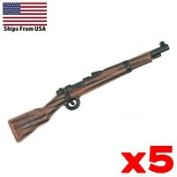 LEGO Guns Kar98 Rifle Painted Gun Lot of 5 Custom WWII Army Military Weapon Pack