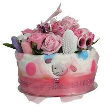 Baby girl nappy cake baby shower present maternity gift pink floral gift present