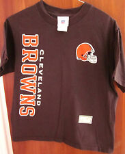 CLEVELAND BROWNS youth med T shirt football NFL vertical helmet logo plain tee