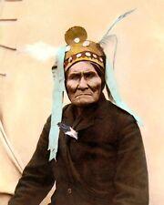 "GERONIMO NATIVE AMERICAN INDIAN APACHE 1901 8x10"" HAND COLOR TINTED PHOTOGRAPH"