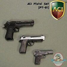 """1/6 Scale Pistol Set of 3 PT01 for 12"""" Figures ACI Desert Eagle Beretta Browning"""