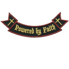 POWERED BY FAITH ROCKER CHRISTIAN EMBROIDERED IRON ON BIKER PATCH