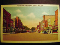 Hornell NY Main Street looking West Postcard 1930s