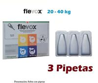 3 Pipetas perro 20-40Kg anti pulgas garrapatas fipronilo FLEVOX 2,68ml pipette