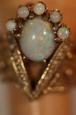 ANTIQUE HEAVY 8.9G WIDE 14K YELLOW GOLD FIRE OPAL ART DECO PEARL RING APP $1800