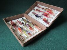 """Salmon flies in """"Trout and Salmon"""" magazine Fox fly box"""