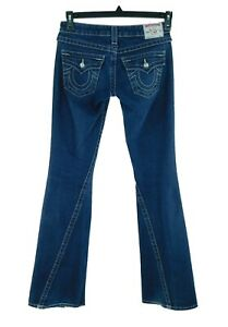 TRUE RELIGION Disco Joey Twisted Seam Low Rise Flare Jr. Jeans Med Wash W25/L32