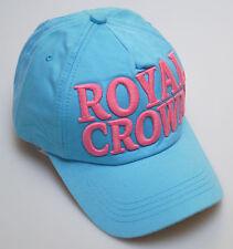 BNWT Vintage College Style Royal Crown Curve Peak Baseball Cap Sky Blue Pink