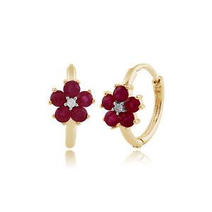 Gemondo 9ct Yellow Gold 0.70ct Floral Ruby & Diamond Hoop Earrings