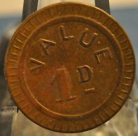'116' Value 1d England Brass Token, 19mm