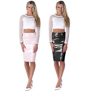 Ladies Celebrity Shiny PVC Wetlook Womens Bodycon Vinyl Midi Party PU Skirt