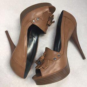 "Simply Vera Wang Shoe Tan LEATHER Peep toe Platform PUMP 4"" High Heel Size 10"