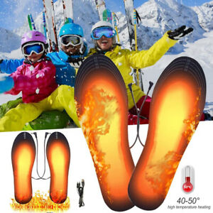 Heated Shoe Foot Insole USB Electric Heater Winter Skiing Outdoor Warm Feet Pads