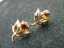 9ct Yelllow Gold Vintage Genuine Citrine Celtic Stud Earrings Nice No Reserve