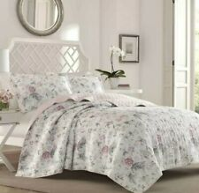 Laura Ashley Rowland Pink Breeze floral 100% Cotton Full/Queen Quilt & Shams Set