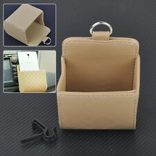 Beige PU Leather Air Vent Outlet Pocket Box Pouch Phone Organizer Holder Storage
