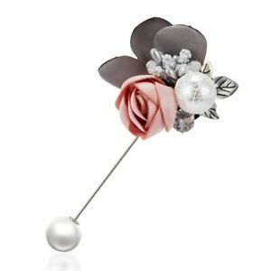 Crystal Pearl Rose Flower Brooch Wedding Bridal Bouquet Boutonniere Pin Jewelry