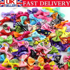 More details for 100x assorted dog hair bows dog bows pet puppy bright flower printed hair bows