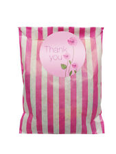 Pink & white paper party bags & 60mm pink thank you stickers- 24 of each in pack