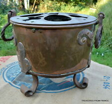 """Antique RARE French huge fireside bain marie dovetailed 13"""" wide"""