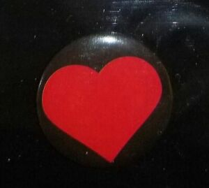 Red Hart on black Button Pin - Yellow on Red