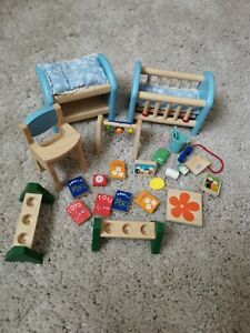 Wooden Dolls House Family Miniature baby High chair bed accessories Kids Toys