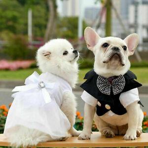 Pet Dog Wedding Dress Tuxedo Suit Clothes Bow Tutu Skirt Puppy Cat Dresses Party