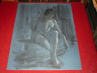[ André Landaud 1924-2013] Naked Female Large Drawing Charcoal-Pastel Paper Blue