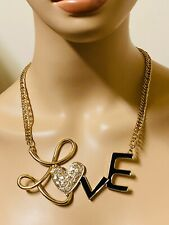 Crystal Heart LOVE Statement Necklace - Gold Tone