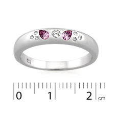 9ct White Gold Created Pink Sapphire & Diamond Band Ring.