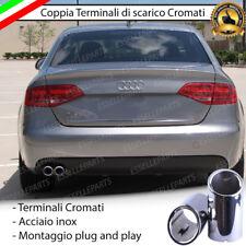 COPPIA TERMINALE SCARICO CROMATO LUCIDO ACCAIO INOX AUDI A4 B8 8K DOPPIO