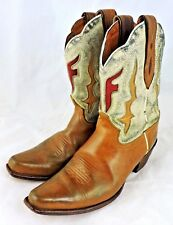 Frye womens boots cowboy western 7 distressed leather tan cream pointed Lilly