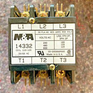 M&A Definite Purpose Contactor 30A 3 Pole 110-120VAC Coil 14332 Free Shipping