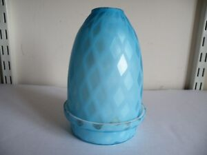 A VICTORIAN AIR TRAP / QUILTED SATIN GLASS NIGHTLIGHT AND BASE