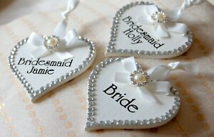 Pretty Hearts, PERSONALISED Bridal Hanger Hearts with Name+ Role, Any Name