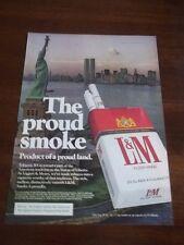 1976 VINTAGE PRINT AD L&M CIGARETTES WTC WORLD TRADE CENTER+STATUE OF LIBERTY