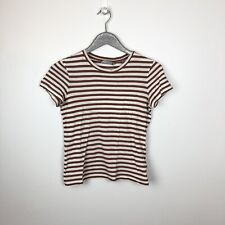 Vince Brown Striped Stretch Short Sleeve Tee Size Medium M