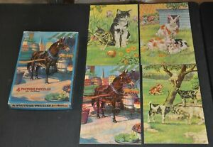 Milton Bradley 4 Picture Puzzles For Children 4873-2 In Box 1940's Collectible
