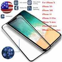 For iPhone XS Max XR X 11 Pro Max Full Coverage Tempered Glass Screen Protector