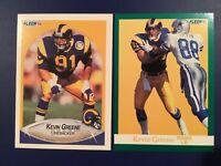 1990-1991 Fleer #38 and 269 KEVIN GREENE Lot Rams, Steelers LOOK CHEAP