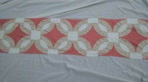 Vintage Quilt Blocks Pink/Floral Sown In Line Perfect for Table Runner 78 x 16