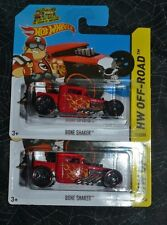 2014 HOT WHEELS HW OFF ROAD BONE SHAKER RED 117/250 SET OF TWO ON SHORT CARDS