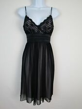 Teeze Me Womens Poly Black Sheer Tie Back Pleated & Lined Baby Doll Dress sz L