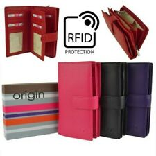 Ladies Soft Leather Tabbed RFID Protection Purse/Wallet by Mala; Origin Collecti