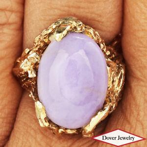 Estate Lavender Jade 14K Gold Elegant Leaf Design Cocktail Ring 10.7 Grams NR