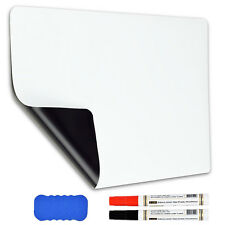 "17""x12"" Dry Erase Magnetic Refrigerator Flexible Blank White Board + Markers USA"